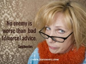 "Older woman giving the worst divorce advice, stares over her glasses near the quote ""No enemy is worse than bad (divorce) advice."""