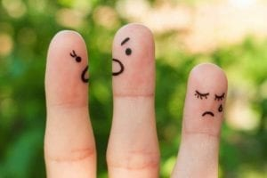 Fingers with faces on them showing divorced parents arguing, with sad child crying.