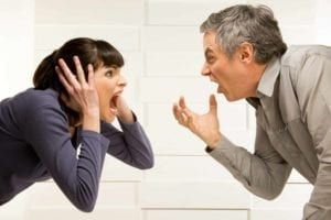 Divorcing couple screaming at each other