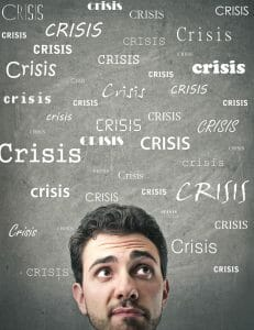 "Man with word ""Crisis"" written many times around him needs divorce tips."