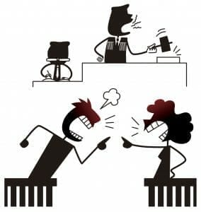 Cartoon of couple fighting in divorce court