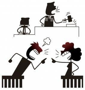 Cartoon of couple fighting in divorce court
