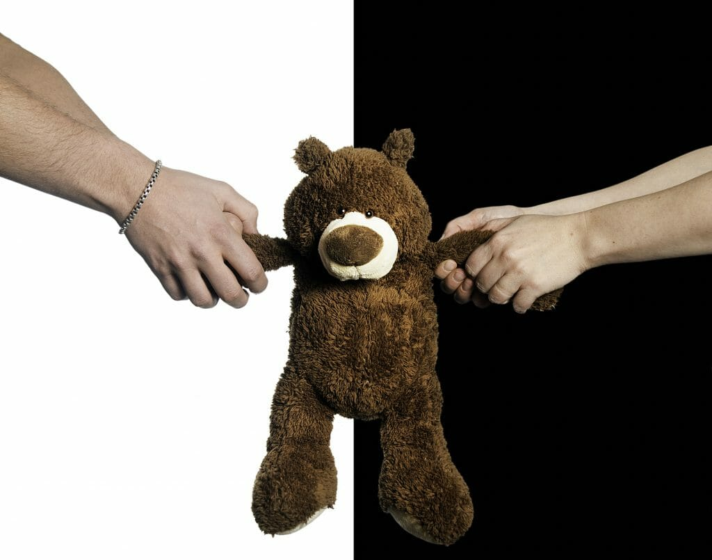 Man and woman in a custody battle pulling at arms of a teddy bear.