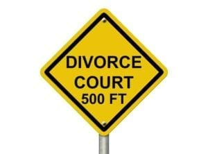 "Yellow sign saying, ""Divorce Court 500 Ft"""