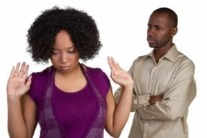 Divorcing African American couple arguing with each other