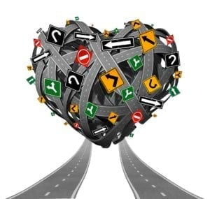 Lots of roads with different road signs criss-crossed over each other in the shape of a heart. How divorce works: it's confusing!