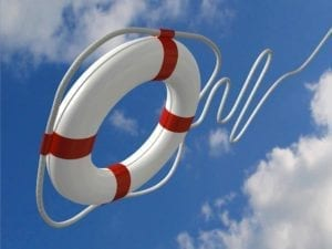 Close up of life preserver flying through the air. Save your marriage!