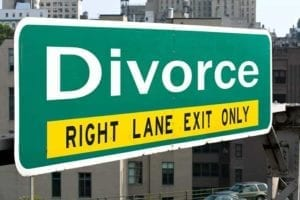 """Green road sign saying """"Divorce: Right Lane Exit Only"""" Your divorce is final."""