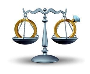 Cartoon image of husband and wife's wedding ring on the scales of justice