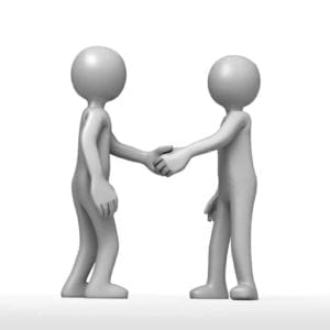 Amicable Divorce shown by two figures shaking hands