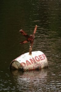 """Explosive barrel symbolizing the dangers of a cheap divorce floating in water with """"Danger"""" painted on the barrel"""
