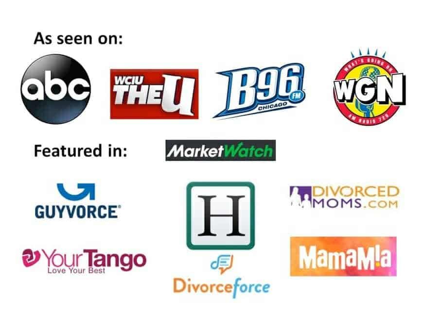 Logos of media outlets that have featured Karen Covy or Karen Covy's divorce articles