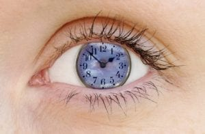 Close up of an eye with a clock in it: take your time