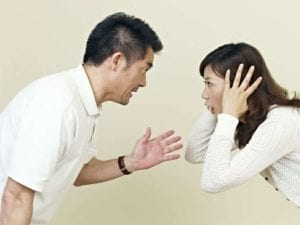 Angry Asian couple arguing. How do you talk to your ex without screaming?