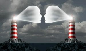 Lighthouses with faces streaming out showing idea of how to talk to your ex and communicate so that you hear each other.