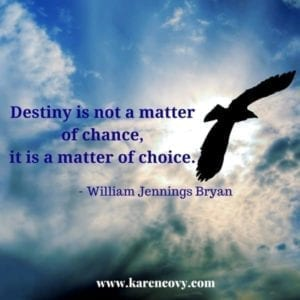 Bird flying in the sun with destiny quote from William Jennings Bryan