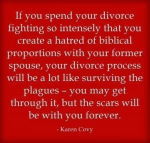 Divorce Quotes: Divorce saying by Karen Covy on red background