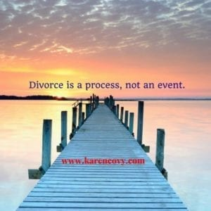 Picture of a dock at sunset with the quote: Divorce is a process, not an event.