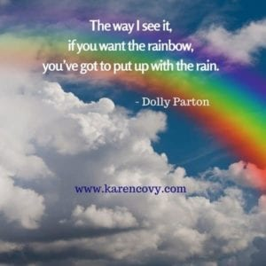 Rainbow picture with quote: The way I see it, if you want the rainbow, you've got to put up with the rain.