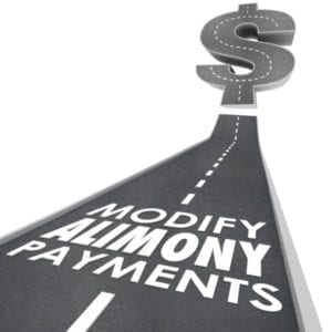 """Modify Alimony Payments"" written on a road that leads to a dollar sign."