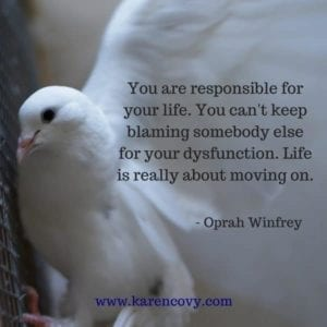 Close up of dove with Oprah Winfrey quote.