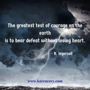 Lightning over raging ocean with quote: The greatest test of courage on the earth is to bear defeat without losing heart.