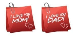 "Sticky notes that say: ""I love you Mom!"" and ""I love you Dad"" show benefits of shared parenting."