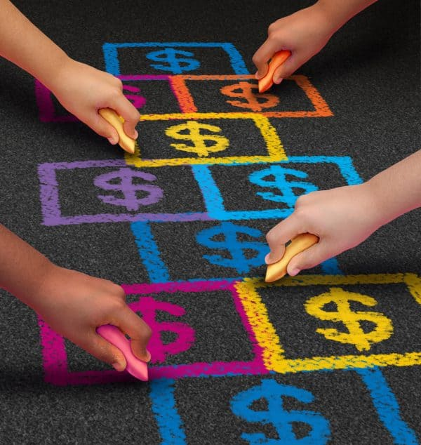 Children drawing chalk hopscotch board with dollar signs in it signifying child support modification.