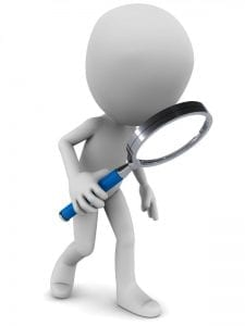 Figure with magnifying glass searching for child support payments.