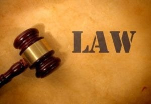"""Picture for Divorce law in Illinois is a Judge's gavel and the word """"Law"""""""