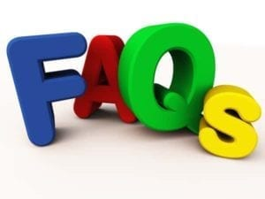 """FAQs"" in big blue, red, green and yellow letters"