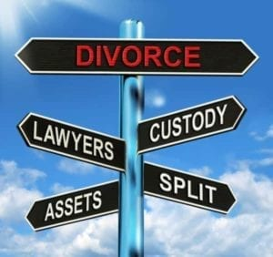 "Street sign with words ""divorce"" ""lawyers"" ""custody"" etc. signifying how to get a divorce in Illinois"