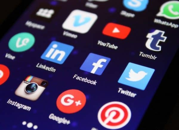 Social media and divorce: Close up of various social media icons on a tablet