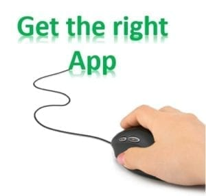 "Hand on a mouse with a cord that leads to the words ""Get the Right App"""