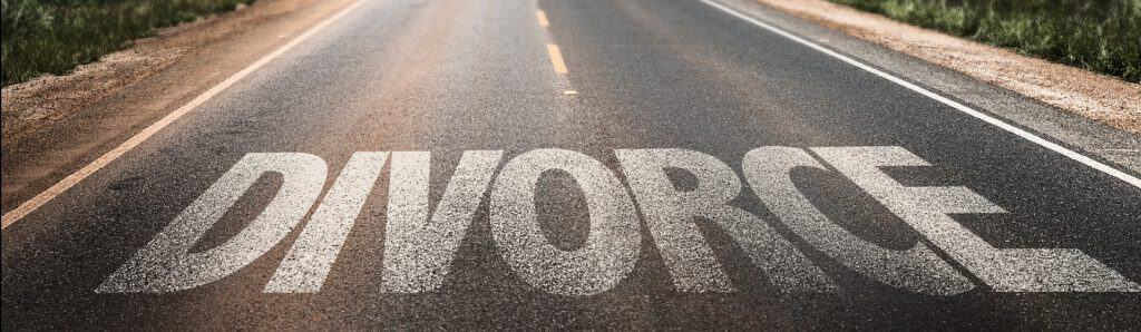 Road with the word DIVORCE on it. Divorce Road Map 2.0