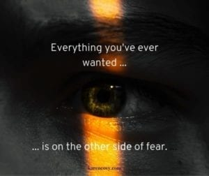 Close up of an eye peering through the darkness with a quote: Everything you've ever wanted is on the other side of fear.