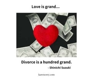 "Picture of heart over money with saying, ""Love is grand; Divorce is a hundred grand."""