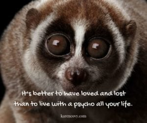 "Close up of sloth with Funny divorce quote: ""It's better to have loved and lost than to live with a psycho all your life."""