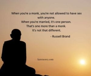 Picture of monk at sunrise with funny meme comparing being married to being a monk.