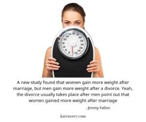 Funny divorce meme about men ending up divorced after telling their wives they gained weight after marriage.
