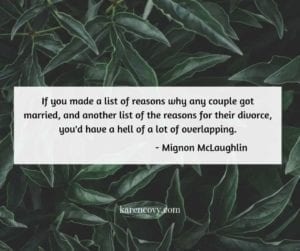 Green leafy background with quote about marriage and divorce.