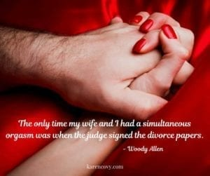 "Man and woman holding hands on red satin blanket with quote, ""The only time my wife and I had a simultaneous orgasm was when the judge signed the divorce papers."""