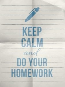 "Note on lined paper: ""Keep calm and do your homework"" is a good divorce mediation strategy"