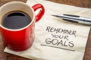 "How to Set Goals and Use Them: Red coffee mug sitting on a napkin with the words ""Remember Your Goals"" written on it."