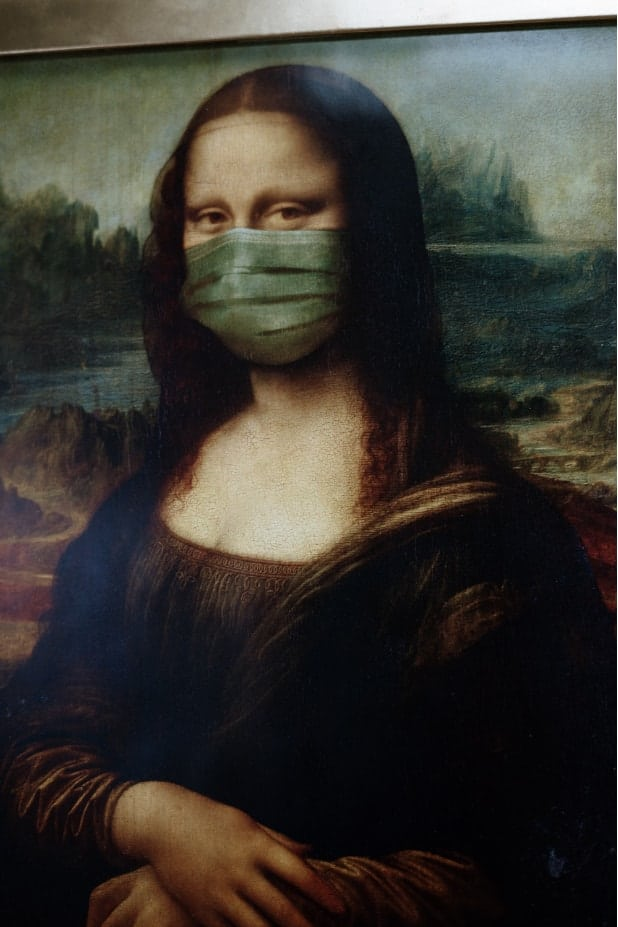 Mona Lisa with a surgical mask representing Marriage During Quarantine.