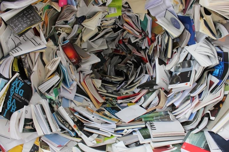 Pile of books in a big mess.