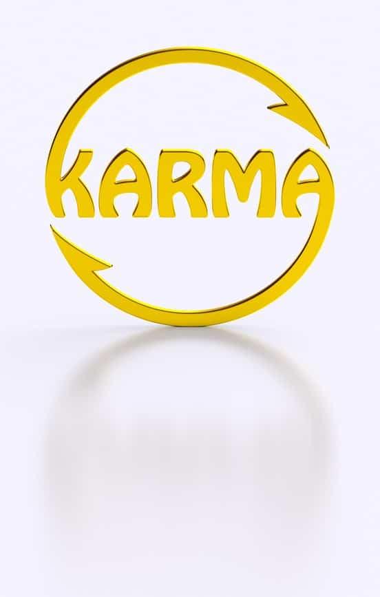 "Yellow circle made with the word ""karma"""