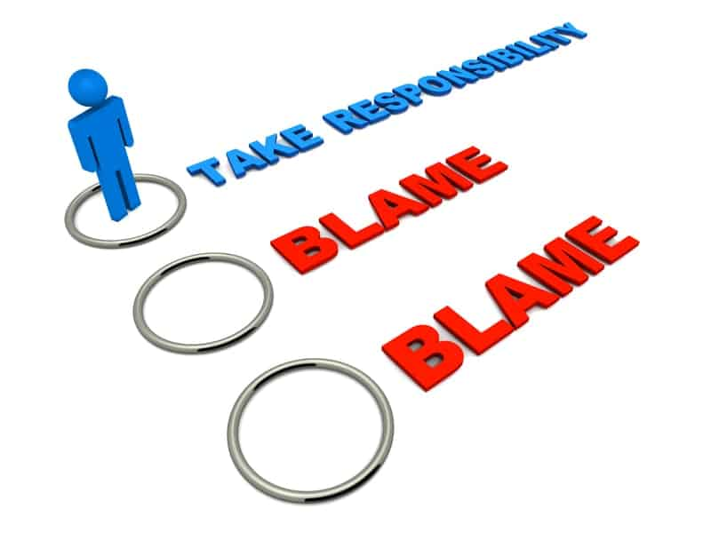 """List of words starting with """"Take Responsibility"""" in blue followed by """"Blame"""" in red signifying responsibility is not blame."""